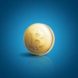 Guld- mynt med bitcointecknet Fotografering för Bildbyråer