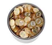 Guld- mynt med dollarsymbol Arkivbild