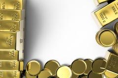 Guld- mynt och guld- stänger Arkivfoto