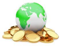Guld- mynt och jord på vit bakgrund royaltyfri illustrationer