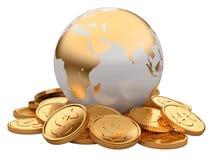 Guld- mynt och jord som isoleras på vit bakgrund vektor illustrationer