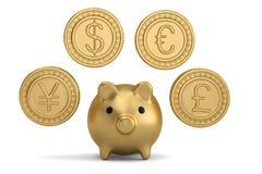 Guld- mynt och spargris illustration 3d stock illustrationer