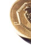Guld- mynt på en vit bakgrund Royaltyfria Bilder