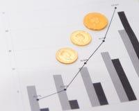 Guld- mynt på finansiella diagram Arkivbilder