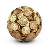 Guld- mynt som är församlade i en formsfär Affärsframgång Concep Royaltyfri Foto