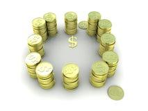 Guld- mynt som är ordnade i en cirkel 3d Royaltyfri Foto