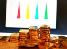 Guld- mynt, guld- st?nger, sortering, begrepp, besparing, utbildning, guld- investeringForexhandel, suddighet f?r materieltabellb arkivbild