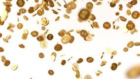 Guld- myntregn stock illustrationer