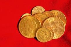 Guld- myntsamling Fotografering för Bildbyråer