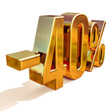 Guld -40%, negativ fyrtio procent rabatttecken Royaltyfri Foto