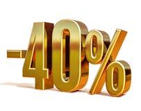 Guld -40%, negativ fyrtio procent rabatttecken Arkivfoto