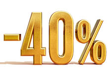 Guld -40%, negativ fyrtio procent rabatttecken Arkivfoton