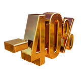 Guld -40%, negativ fyrtio procent rabatttecken Royaltyfri Bild