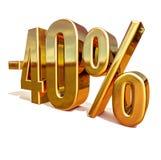 Guld -40%, negativ fyrtio procent rabatttecken Royaltyfri Fotografi