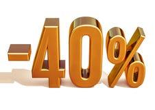 Guld -40%, negativ fyrtio procent rabatttecken Arkivbild