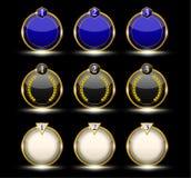 Guld- neonetikett Royaltyfri Fotografi