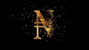 Guld- nigerianskt nairavalutasymbol som visas fr?n ett moln av guld- partiklar lager videofilmer
