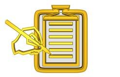 Guld- notepad och hand med blyertspennan royaltyfri illustrationer