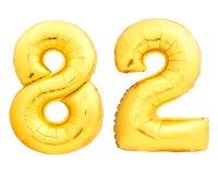 Guld- nummer 82 åttiotvå gjorde av den uppblåsbara ballongen Royaltyfria Bilder