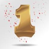 Guld- nummer ett med konfettier Arkivbild