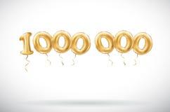 Guld- nummer 1000000 för vektor en miljon metalliska ballong Guld- ballonger för partigarnering Årsdagtecken för lycklig ferie, c royaltyfri illustrationer