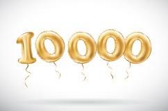 Guld- nummer för vektor 10000 tio tusen metalliska ballong Guld- ballonger för partigarnering Årsdagtecken för lycklig ferie, ce royaltyfri illustrationer
