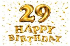Guld- nummer 29 för vektor tjugonio metalliska ballong Guld- ballonger för partigarnering Årsdagtecken för lycklig ferie, celebr Royaltyfri Foto
