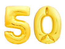 Guld- nummer 50 femtio gjorde av den uppblåsbara ballongen Royaltyfri Foto