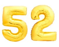 Guld- nummer 52 femtiotvå gjorde av den uppblåsbara ballongen Arkivbild