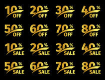Guld- nummer med procentsats på en svart bakgrund Befordrings- affärserbjudande för köpare Numret av rabatter in stock illustrationer