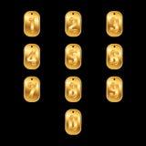 Guld- nummer på guld- hundetiketter stock illustrationer