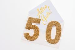 Guld- nummer 50 på räkningen med tysk text all bästa Royaltyfria Bilder