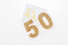 Guld- nummer 50 på räkningen med tysk text all bästa Royaltyfri Bild