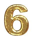 guld- nummer sex för stilsort Arkivbild
