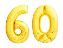 Guld- nummer 60 sextio gjorde av den uppblåsbara ballongen Royaltyfria Bilder