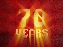 Guld- nummer sjuttio år 3d framför stock illustrationer