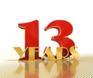 Guld- nummer tretton numrerar 13 och ordet Arkivfoton