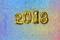 2018 guld- nummer, uppblåsbar, nytt år, sten, bakgrund, W Royaltyfri Fotografi