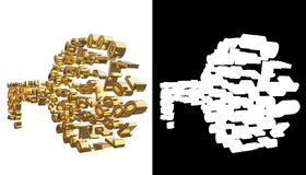 Guld numrerar en och zero in formen av en tangent Med den alfabetiska kanalen illustration 3d Royaltyfria Bilder
