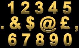 guld numrerar interpunktion Arkivfoton
