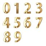 guld- siffror 3D på vit Royaltyfria Bilder