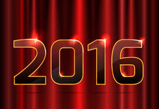 Guld numrerar 2016 och en röd gardinbakgrund vektor illustrationer