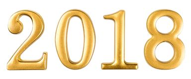 Guld numrerar 2018 som isoleras på vit Arkivbild