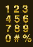 guld numrerar vektorn Arkivbilder