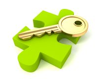 Guld- nyckel- av framgång på grönt pussel lappar Arkivbild