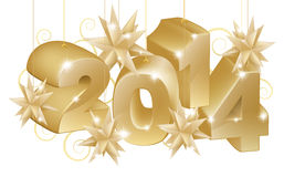 Guld- nytt år eller jul 2014 garneringar Royaltyfri Fotografi