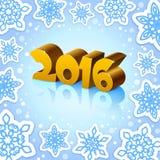 Guld- nytt år 2016 på blå bakgrund Royaltyfria Bilder