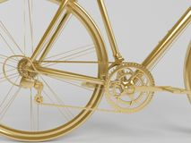 Guld- objekt 3d på vit Fotografering för Bildbyråer