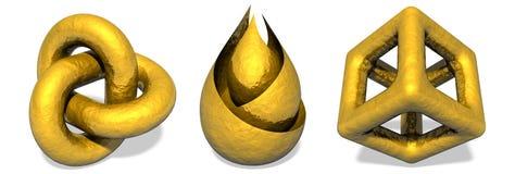 Guld- objektskulpturer Arkivfoto