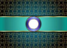 Guld- och blå tappningbakgrund mellanrum för meddelande eller text certifikat Royaltyfri Foto